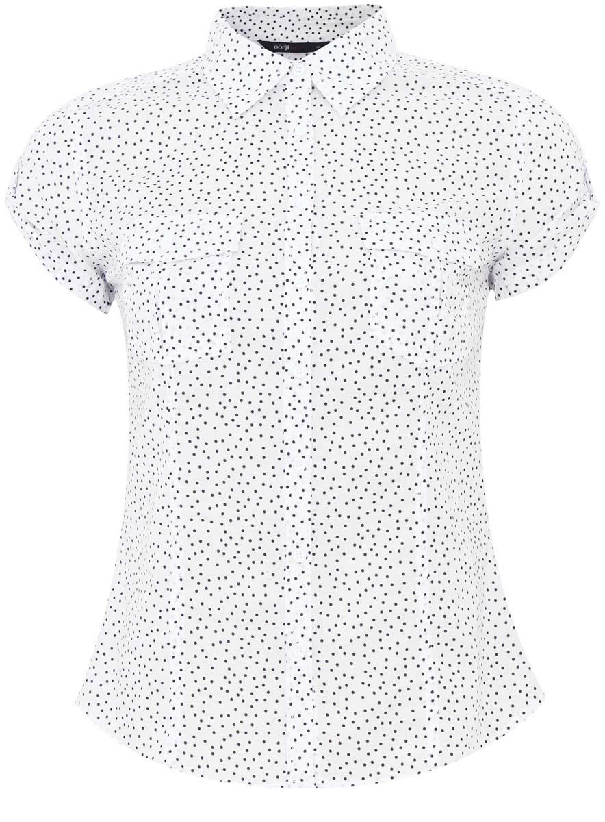 11402084-3/12836/7010FСтильная женская рубашка oodji Ultra выполнена из натурального хлопка. Модель с отложным воротником и короткими рукавами застегивается на пуговицы. На груди рубашка дополнена двумя накладными карманами с клапанами на пуговицах. Оформлено изделие оригинальным принтом.