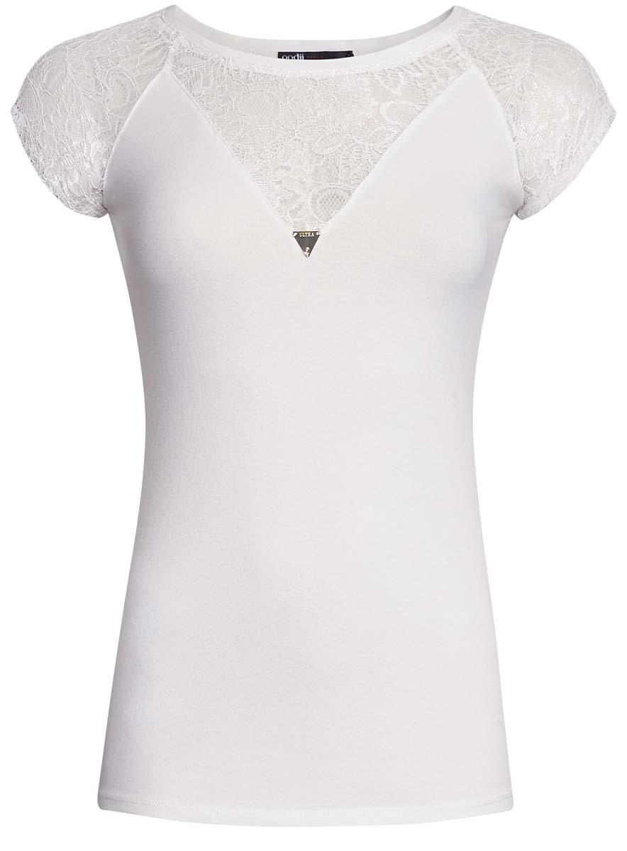 Блузка14707006/17482/1200NЖенская футболка с оригинальной кружевной вставкой oodji Ultra выполнена из высококачественного комбинированного материала, нежного и приятного на ощупь. Модель с круглым вырезом горловины и короткими рукавами.