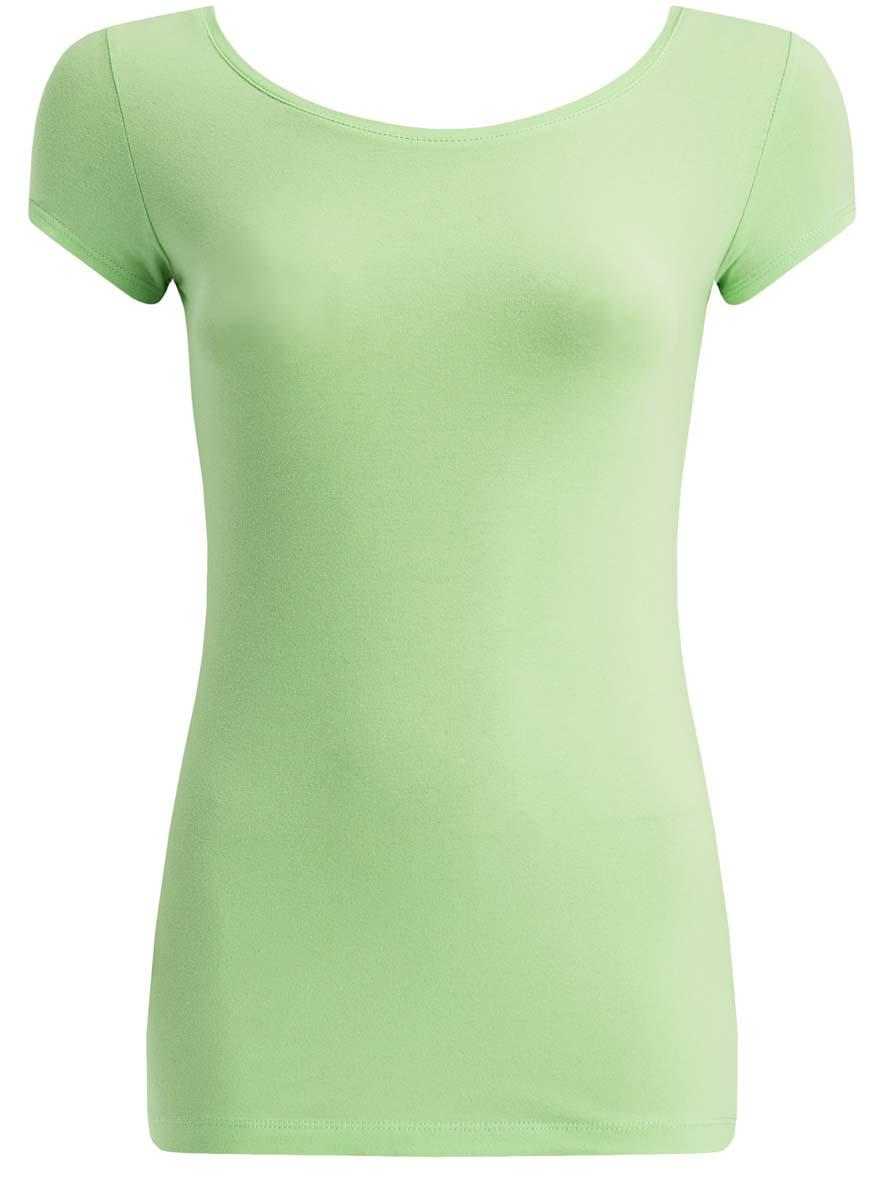 Футболка14701026/46147/4501NЖенская футболка oodji Ultra выполнена из эластичного хлопка. Модель с круглым вырезом горловины и короткими рукавами имеет приталенный силуэт. На спинке изделие украшено фигурным вырезом.