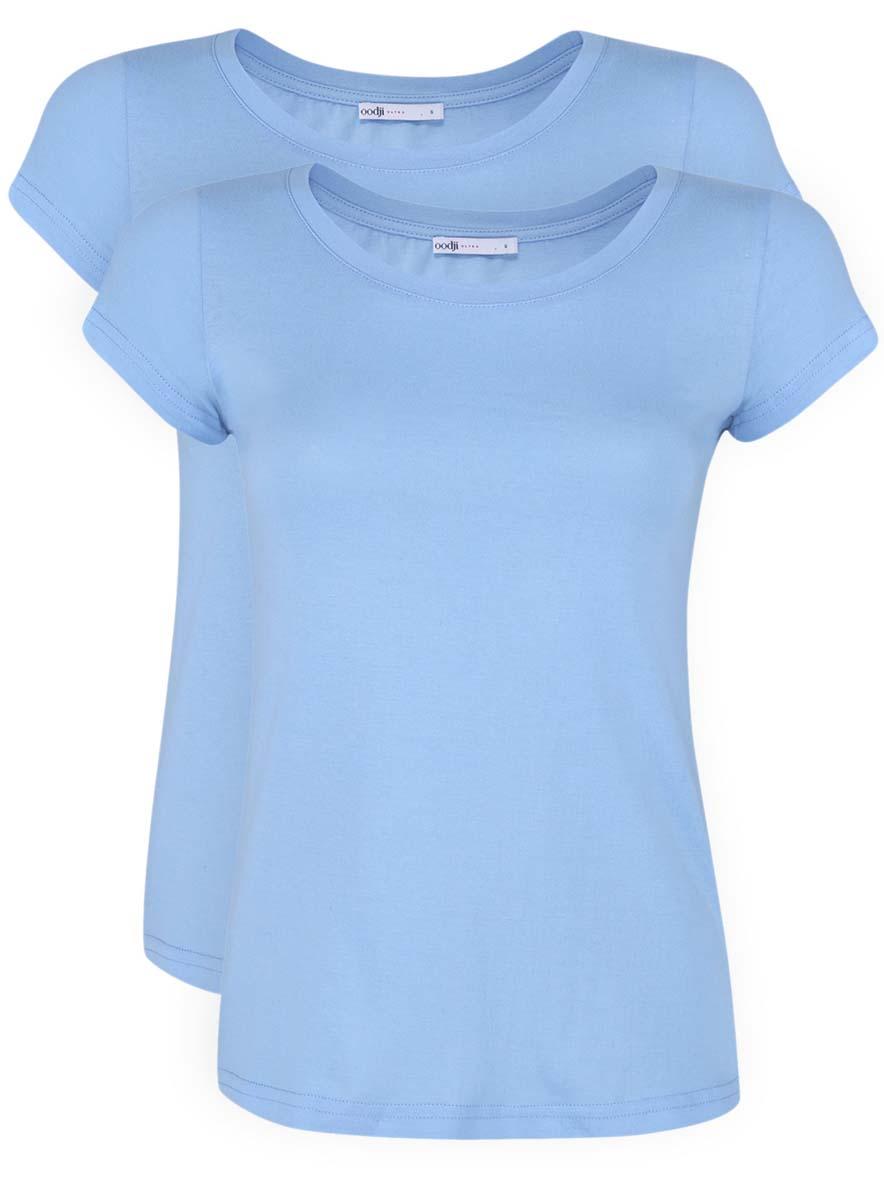 Футболка14701008T2/46154/6700NЖенская приталенная футболка выполнена из хлопка. Модель с круглым вырезом горловины и стандартными короткими рукавами. В комплект входят 2 футболки одинакового цвета.