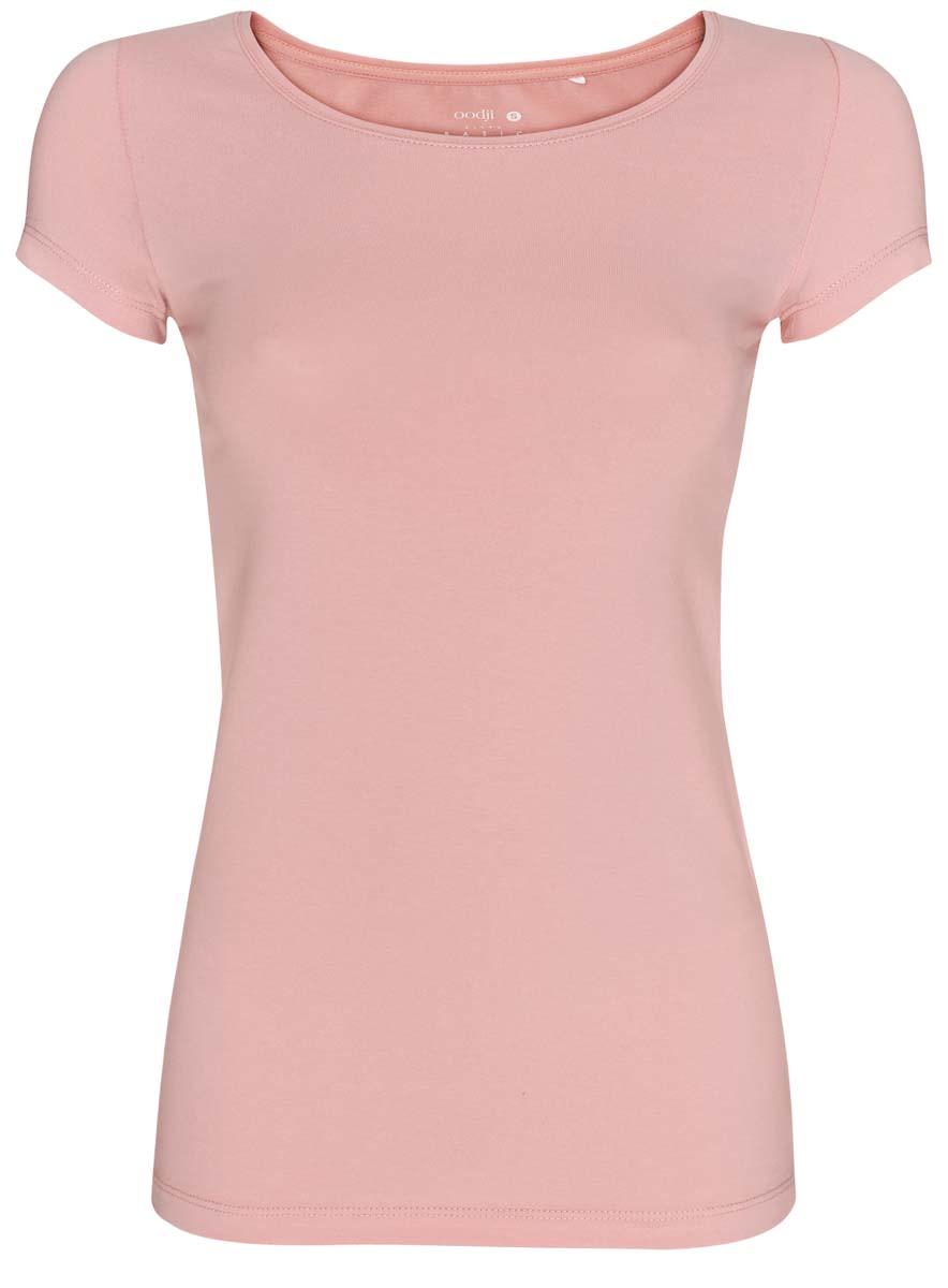 14701005-7B/46147/2000MСтильная женская футболка oodji Ultra, выполненная из хлопка с небольшим добавлением полиуретана, отлично дополнит ваш гардероб. Модель с круглым вырезом горловины и короткими рукавами.