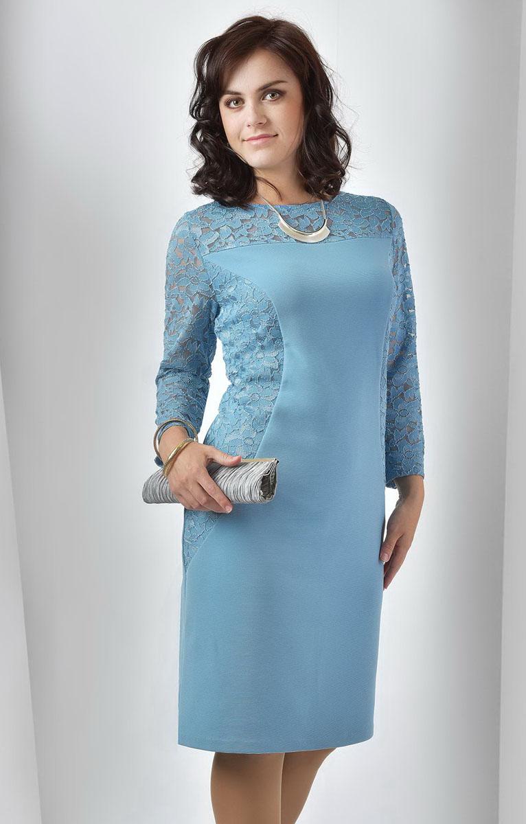 Платье955мПлатье Milana Style выполнено из полиэстера с добавлением вискозы и лайкры. Платье-миди с круглым вырезом горловины и рукавами длинной 7/8. Модель оформлено кружевными вставками с цветочным узором.