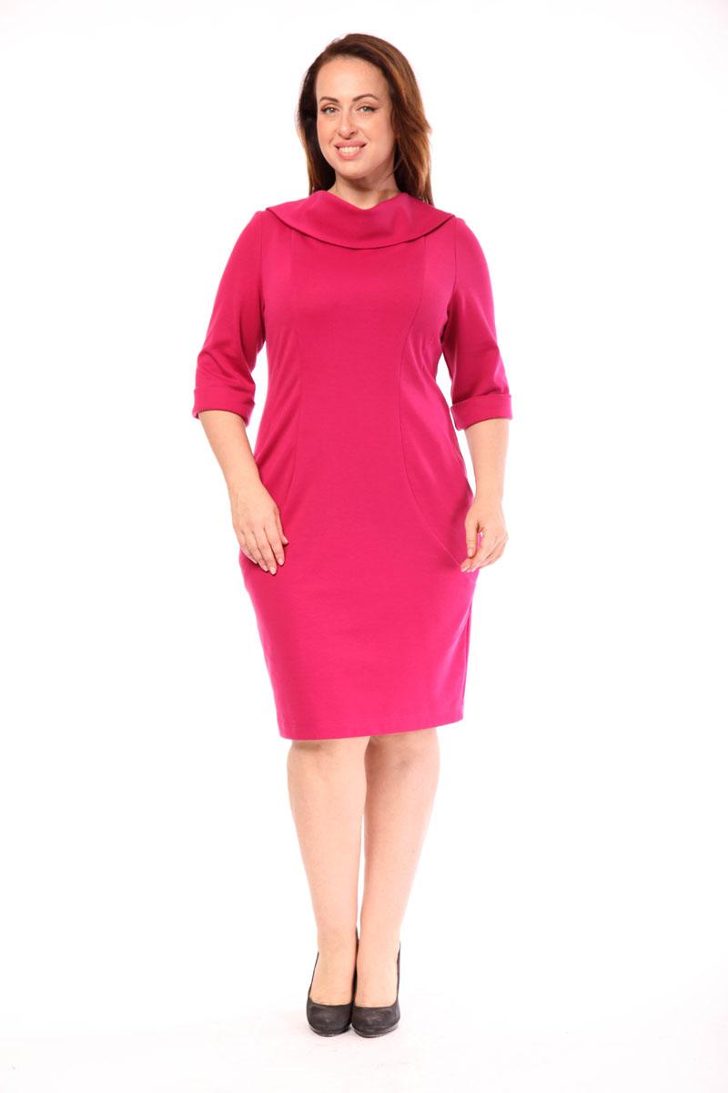 91642Платье Milana Style выполнено из вискозы с добавлением полиэстера. Платье-миди с воротником-качелью и рукавами длинной 3/4 застегивается на потайную застежку-молнию, расположенную в среднем шве спинки. Спереди модель дополнена двумя втачными карманами, а сзади небольшой шлицей.