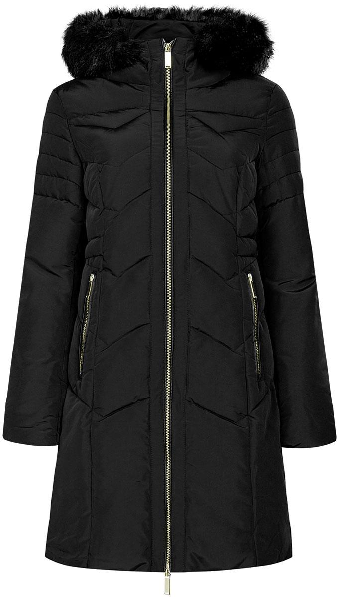 Куртка20204047/45934/2900NЖенская куртка oodji Collection изготовлена из высококачественного полиэстера и оформлена искусственной кожей. В качестве утеплителя используется полиэстер. Модель с несъемным капюшоном, оформленным съемным искусственным мехом, застегивается на застежку-молнию. Спереди расположены два прорезных кармана с застежками-молниями. Рукава с внутренней стороны дополнены манжетами на резинках. Талия с внутренней стороны регулируется с помощью эластичного шнурка.