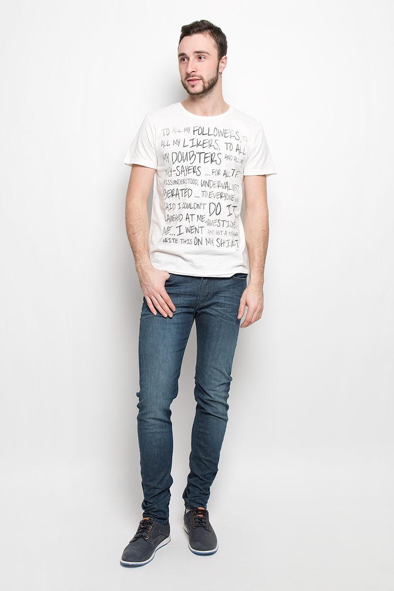 1036559.00.12_2999Стильная мужская футболка Tom Tailor Denim выполнена из натурального хлопка. Модель с круглым вырезом горловины и короткими рукавами. Рукава и низ изделия оформлены эффектом необработанного края.