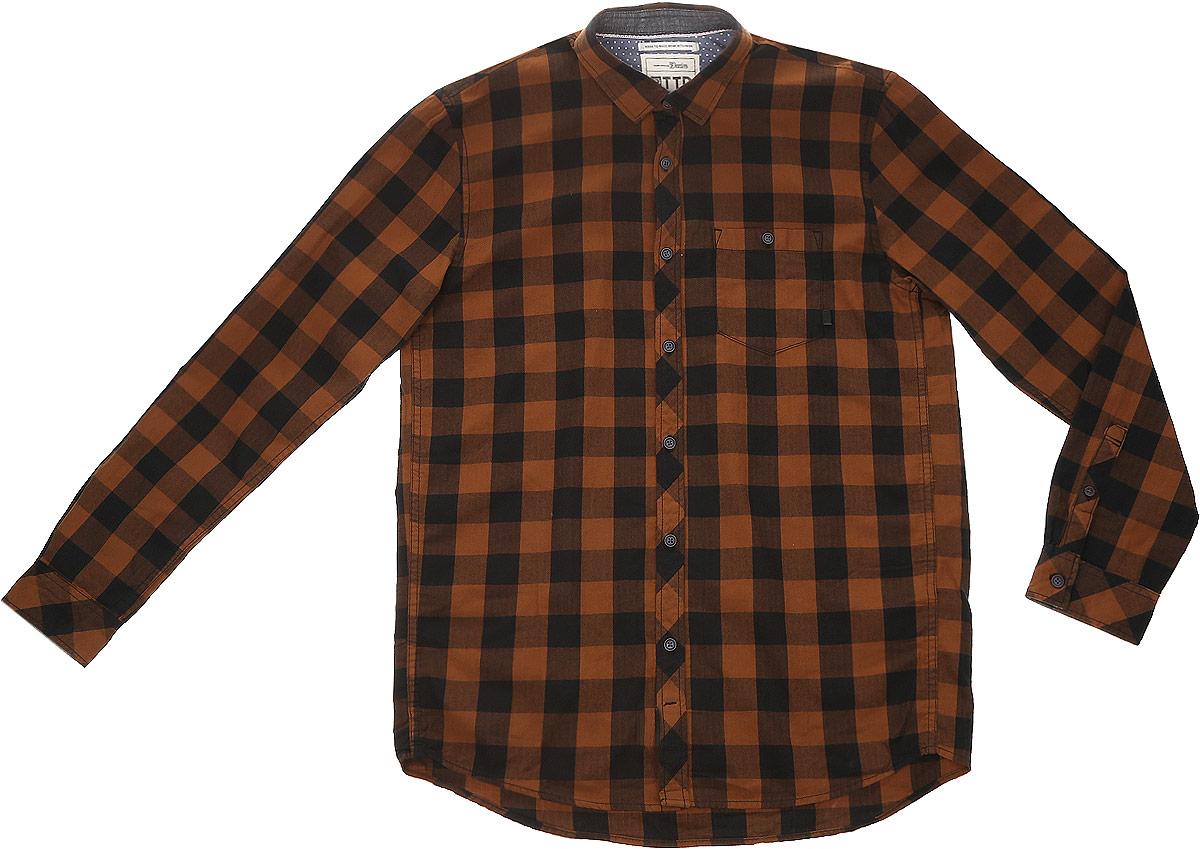 Рубашка2032742.00.12_2999Стильная мужская рубашка Tom Tailor Denim выполнена из натурального хлопка. Модель с отложным воротником и длинными рукавами застегивается на пуговицы спереди и дополнена нагрудным карманом на пуговице.
