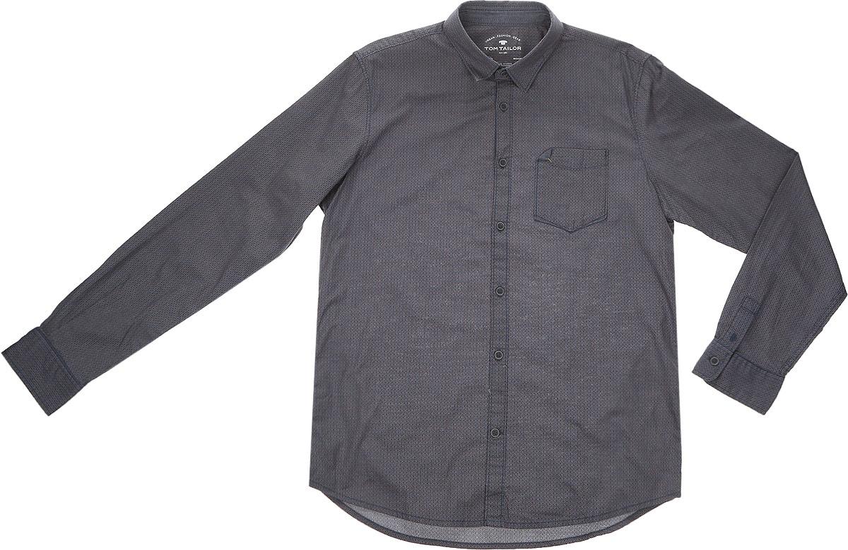 2032640.00.10_8281Стильная мужская рубашка Tom Tailor выполнена из натурального хлопка. Модель с отложным воротником и длинными рукавами застегивается на пуговицы спереди и оснащена нагрудным карманом. Манжеты рукавов дополнены застежками-пуговицами.