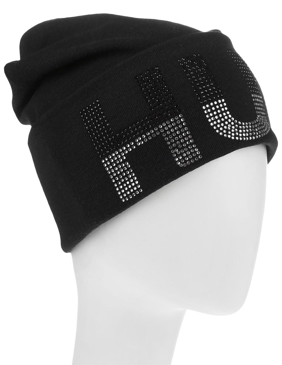 Шапка383574Стильная женская шапка Level Pro дополнит ваш наряд и не позволит вам замерзнуть в холодное время года. Шапка выполнена из шерсти и полиэстера, что позволяет ей великолепно сохранять тепло и обеспечивает высокую эластичность и удобство посадки. Изделие оформлено небольшим отворотом с принтовой надписью, выложенной из страз. Такая шапка составит идеальный комплект с модной верхней одеждой, в ней вам будет уютно и тепло.