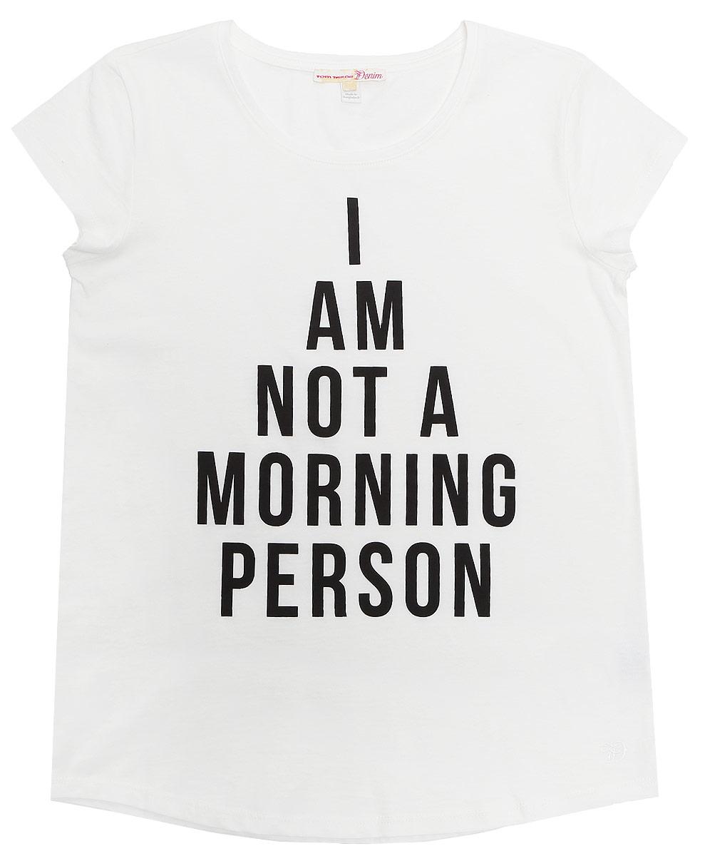 Футболка1036572.00.71_2707Модная женская футболка Tom Tailor Denim изготовлена из натурального хлопка. Модель с круглым вырезом горловины и короткими рукавами оформлена спереди буквенным принтом.