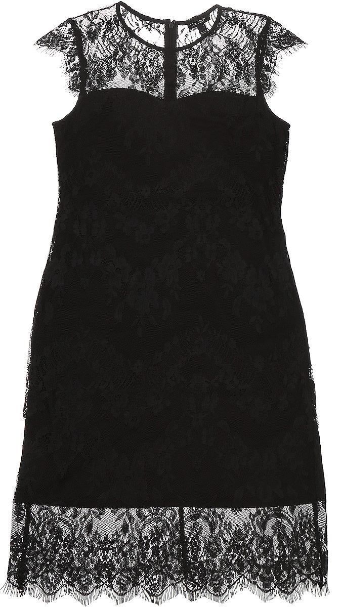 5019509.00.75_2999Модное платье Tom Tailor Contemporary изготовленное из кружевного материала с подкладкой из полиэстера. Модель-миди с круглым вырезом горловины и короткими рукавами-крылышками застегивается на застежку-молнию, расположенную на спинке.