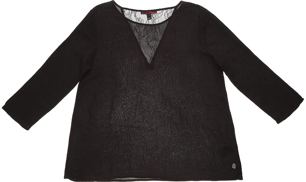 Блузка2032753.00.71_2999Блузка Tom Tailor Denim выполнена из вискозы. Модель с круглым вырезом горловины и стандартными длинными рукавами, на спинке модель декорирована кружевной V-образной вставкой из полиамида. Низ дополнен металлической пластиной с логотипом бренда.