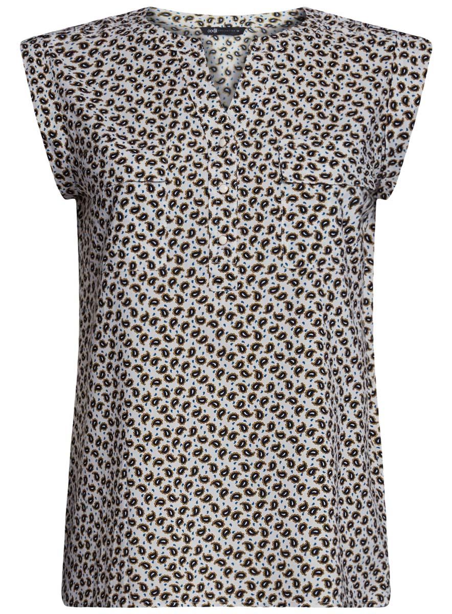 Блузка21412132-2/24681/1252EСтильная женская блузка oodji Collection выполнена из 100% вискозы. Модель без рукавов и V-образным вырезом горловины спереди застегивается на пуговицы. На груди блузка дополнена двумя накладными карманами с клапанами.