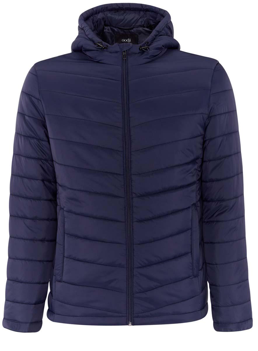 Куртка1B112001M/25278N/2900NМужская куртка oodji Basic выполнена из 100% полиамида. В качестве подкладки и утеплителя используется 100% полиэстер. Модель с капюшоном застегивается на застежку-молнию с защитой для подбородка и имеет внутреннюю ветрозащитную планку. Край капюшона и низ изделия дополнены эластичным шнурком-кулиской со стоплерами. Низ рукавов имеет узкие манжеты на кнопках. Спереди расположены два прорезных кармана на застежках-молниях, а с внутренней стороны - накладной карман.
