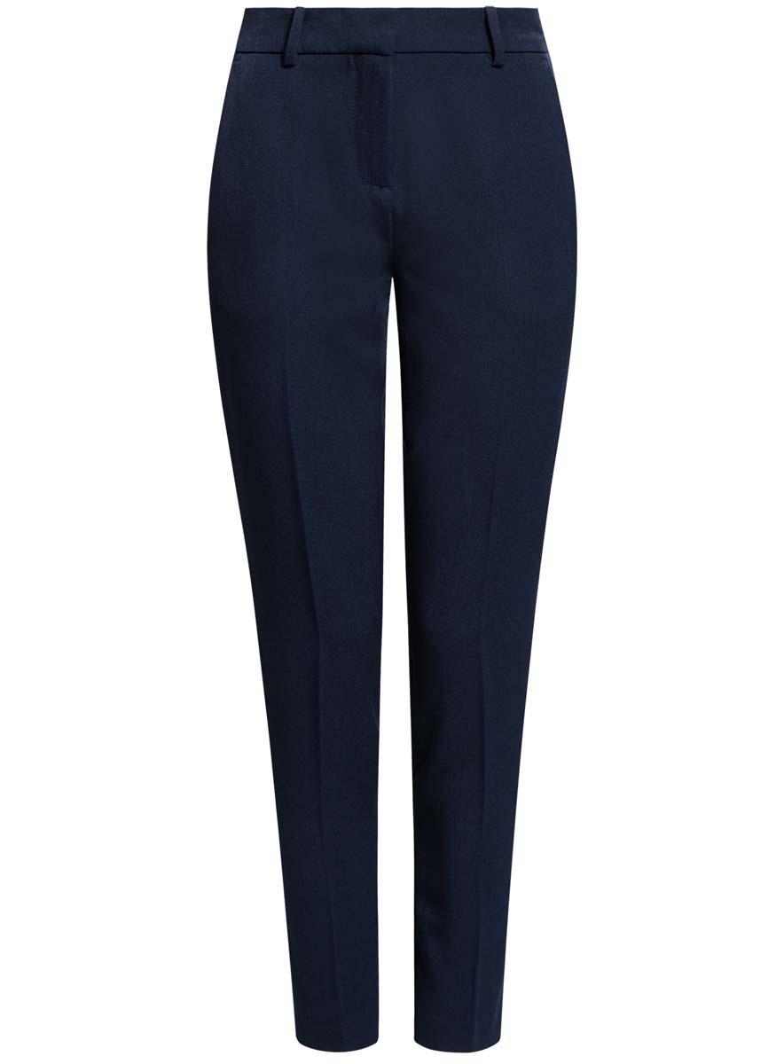 Брюки11706202-2/22434/7900NСтильные женские брюки oodji Ultra изготовлены из качественного комбинированного материала. Модель-слим со стандартной посадкой выполнена в лаконичном стиле. Застегиваются брюки на застежку-молнию, потайную пуговицу и металлический крючок, а также дополнены в поясе шлевками для ремня. Спереди изделие оформлено двумя втачными карманами, а сзади двумя карманами-обманками.