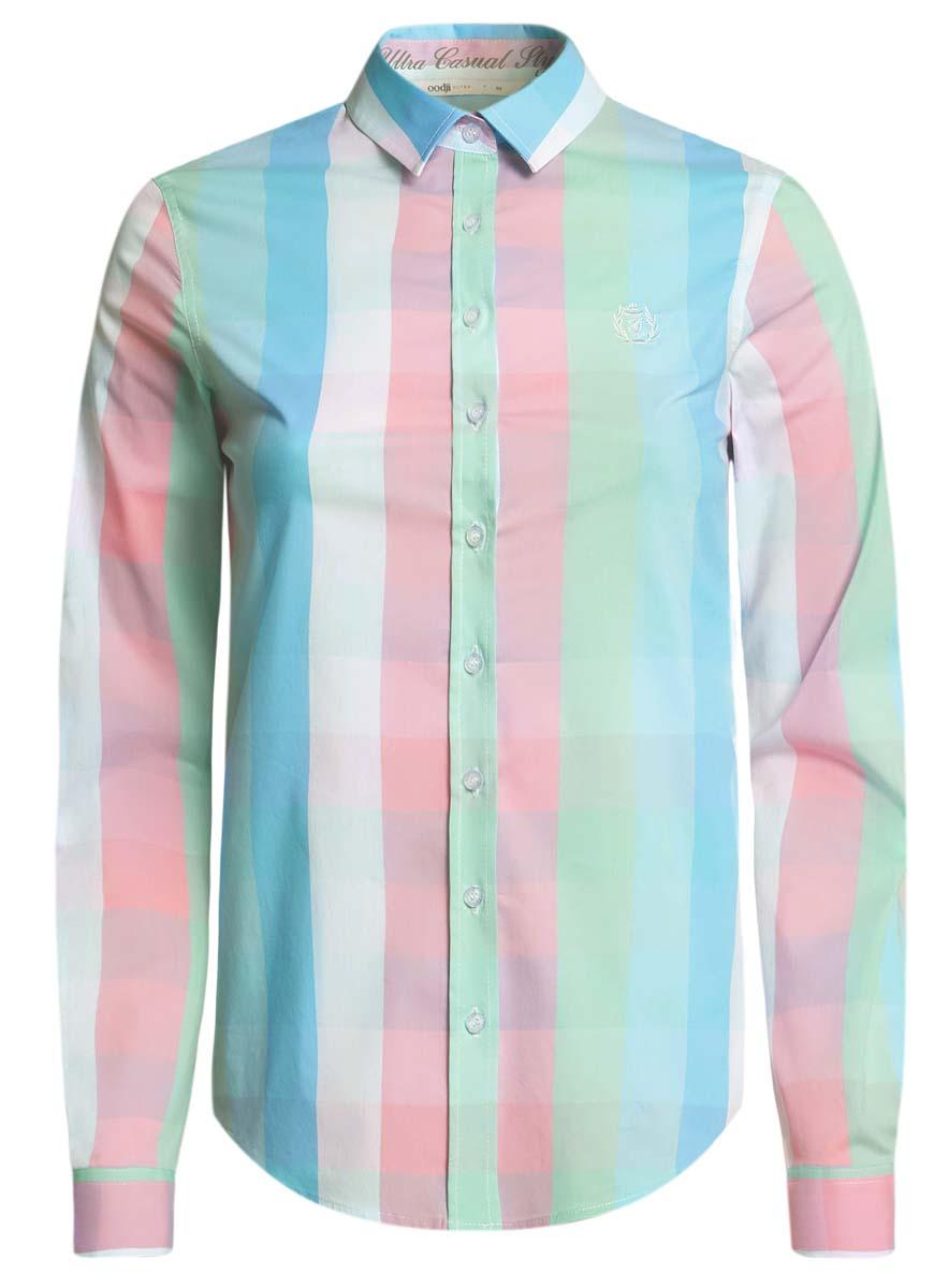 Рубашка11411131/46090/2520CСтильная женская рубашка oodji Ultra выполнена из хлопка с добавлением полиамида и полиуретана. Модель с отложным воротником и длинными рукавами спереди застегивается на пуговицы. Оформлено изделие интересным принтом.