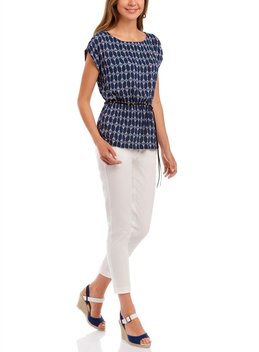 Блузка11400345-1/24681/1029EЖенская блузка oodji Ultra без рукавов исполнена из легкой свободной ткани. Имеет резинку на талии и аксессуар-пояс в комплекте