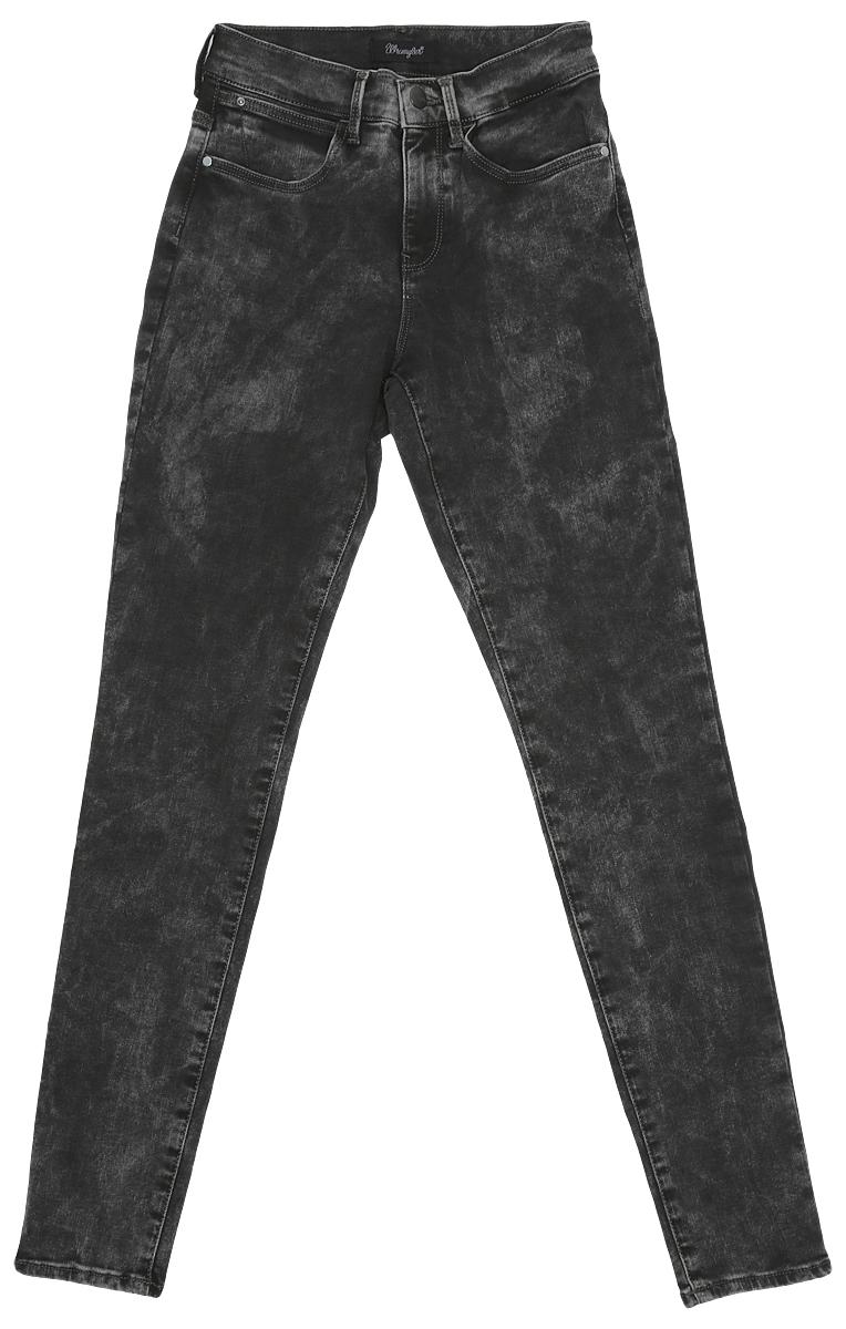 W27HLX93AСтильные женские джинсы Wrangler выполнены из хлопка с добавлением полиэстера и эластана. Материал мягкий и приятный на ощупь, не сковывает движения и позволяет коже дышать. Джинсы-скинни высокой посадки застегиваются на пуговицу в поясе и ширинку на застежке-молнии. На поясе предусмотрены шлевки для ремня. Спереди модель оформлена двумя втачными карманами и одним маленьким накладным кармашком, а сзади - двумя накладными карманами. Модель оформлена эффектом вареного денима.