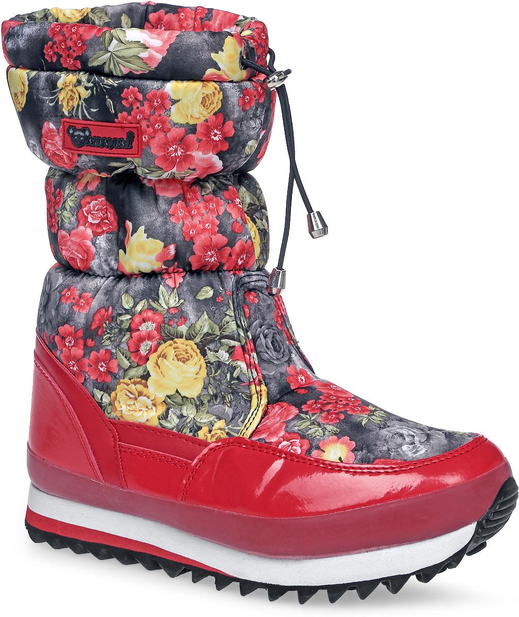 3890/ RED/BLACKПрактичные и удобные женские дутики от Mon Ami - отличный вариант на каждый день. Модель выполнена из комбинации искусственной кожи с гладкой лаковой поверхностью и текстиля, оформленного яркими цветочными изображениями. По ранту обувь дополнена вставкой из полимерного материала. Верх изделия оформлен шнурком с фиксатором, который надежно фиксирует модель на ноге и регулирует объем. Фурнитура исполнена из пластика. Подкладка и стелька, изготовленные из искусственного меха, согреют ноги в мороз и обеспечат уют. Задник декорирован принтом в виде логотипа бренда. Подошва из полимерного термопластичного материала - с противоскользящим рифлением. Удобные дутики придутся вам по душе.