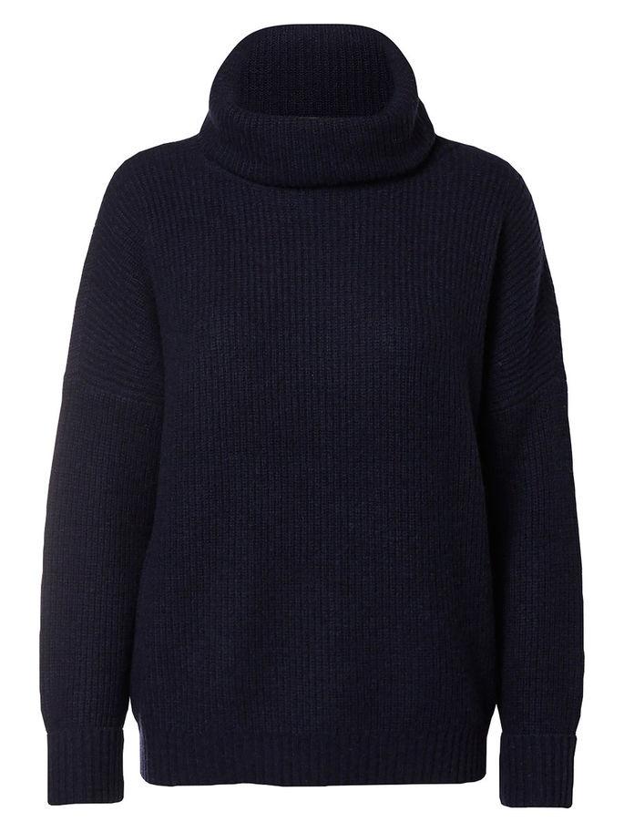 Свитер16051590_Dark SapphireМодный женский свитер Selected Femme, изготовленный из шерсти с добавлением нейлона и шерсти яка, мягкий и приятный на ощупь, не сковывает движений и обеспечивает комфорт. Модель с воротником-гольф и длинными рукавами оформлена оригинальным вязаным узором. Манжеты рукавов дополнены декоративными отворотами.