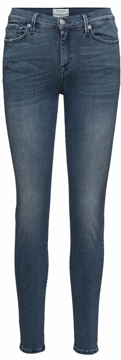 16052726_Medium Blue DenimСтильные женские джинсы Selected Femme выполнены из хлопка с добавлением эластана и эластомультиэстера. Материал мягкий и приятный на ощупь, не сковывает движения и позволяет коже дышать. Джинсы-слим с завышенной посадкой застегиваются на пуговицу в поясе и ширинку на застежке-молнии. На поясе предусмотрены шлевки для ремня. Спереди модель оформлена двумя втачными карманами и одним накладным кармашком на застежке-молнии, сзади - двумя накладными карманами. Модель оформлена эффектом потертости и перманентными складками.