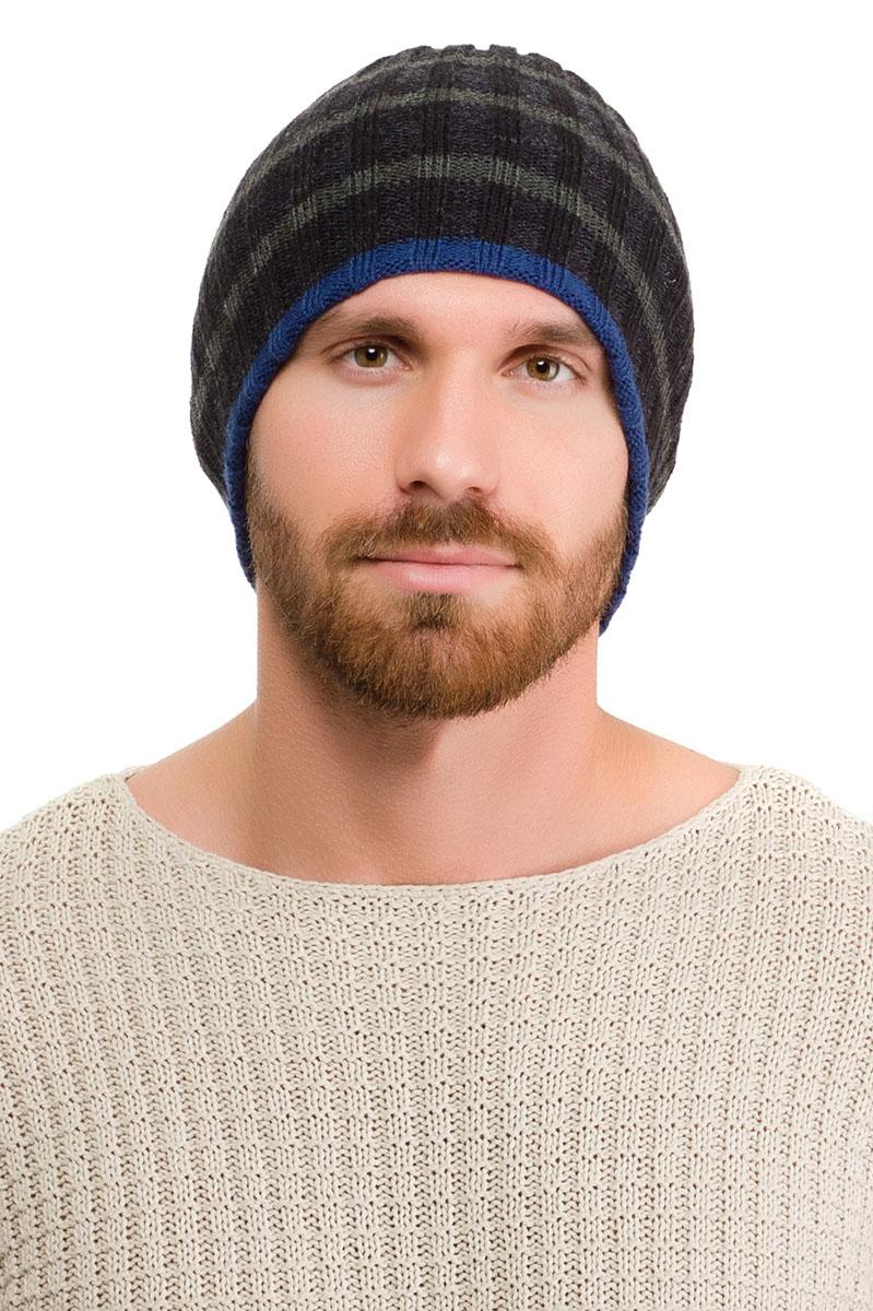 Шапка171BG-1603Вязаная мужская шапка Moltini выполнена из высококачественной акриловой пряжи. Подкладка выполнена в контрастном цвете. Модель декорирована узором в виде узких полосок. Уважаемые клиенты! Обращаем ваше внимание на тот факт, что размер, доступный для заказа, является обхватом головы.