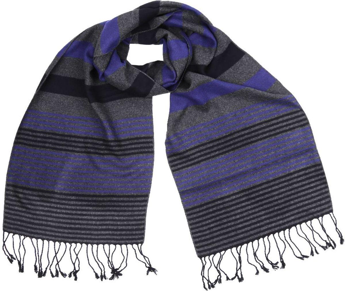 ШарфR013440-1Мужской шарф от итальянского бренда Fabretti выполнен из натуральной шерсти с добавлением вискозы, которая придает изделию неповторимую мягкость и шелковистость фактуры. Изысканное сочетание фиолетового, серого и черного цвета дополнит любой современный образ, а классические линии подчеркнут ваш безупречный стиль. Аккуратные кисточки, которые украшают края модели позволили дизайнерам создать настоящий шедевр, который подчеркнет вашу статусность и элегантность.