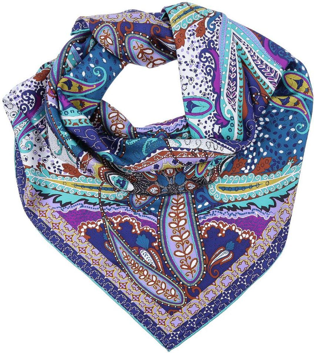 ПлатокCX1617-11-9Яркий женский платок от итальянского бренда Fabretti выполнен из натурального шелка с плетением - сатин, что придает изделию неповторимый роскошный блеск и гладкость фактуры. Дизайнерский принт пейсли украсит любой современный образ, а тонкая и прочная нить, создающая струящуюся ткать, подчеркнет изысканный вкус своей обладательницы