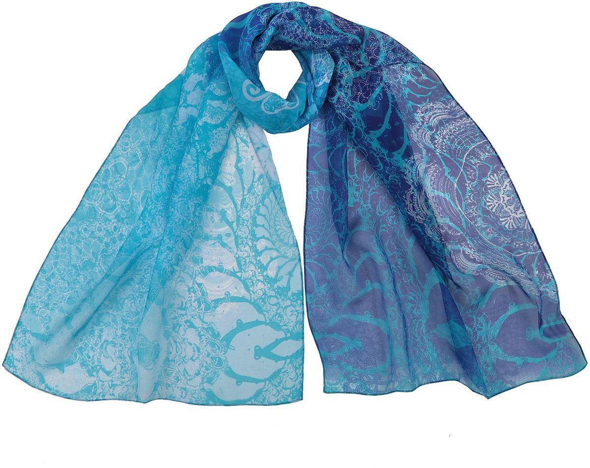 ШарфCLSCF-06-3Полупрозрачный струящийся шарф Fabretti оформлен оригинальным принтом. Данный аксессуар может стать изюминкой практически любого наряда.