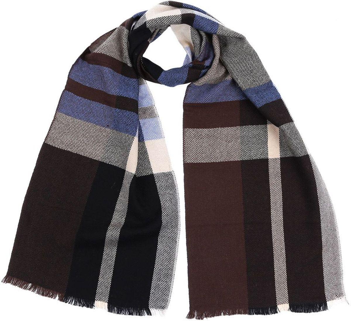Шарф2874-12Мужской шарф от итальянского бренда Fabretti выполнен из натуральной шерсти с мерсеризированной нитью, которая придает изделию неповторимую мягкость и шелковистость фактуры. Дизайнерское соединение серого, черного и яркого коричневого цвета превратит ваш образ в самый стильный и элегантный в любой компании. Модная клетка и стильные реснички, которыми обработаны края изделия, подчеркнут ваш индивидуальный стиль.