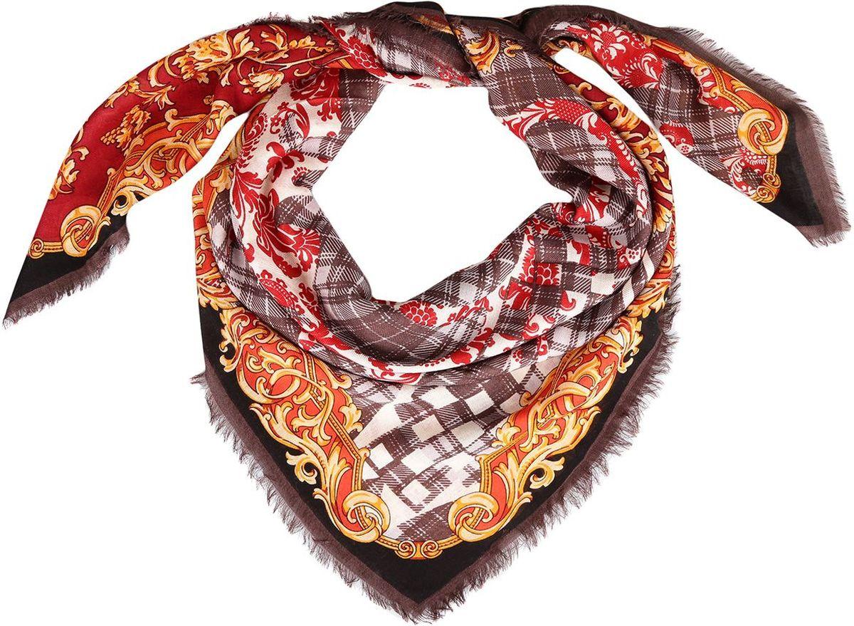 Платок10KEP8002-4AИзящный женский платок от итальянского бренда Leo Ventoni выполнен из натуральной шерсти с мерсеризированной нитью, которая придает изделию неповторимую мягкость и шелковистость фактуры. Дизайн платка сочетает в себе уникальное соединение роскошного принта в стиле барокко с утонченной и классической клеткой. Края, обработанные изящными ресничками, подчеркнут изысканный вкус своей обладательницы.