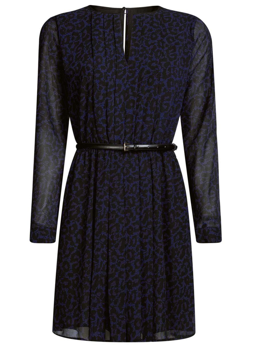 Платье21913017/17358/1229AСтильное платье oodji Collection полностью выполнено из полиэстера. Модель из струящейся ткани с круглым воротником, застегивающимся на пуговицу сзади, вырезом на груди и длинными рукавами с манжетами. В комплект входит тонкий ремень.