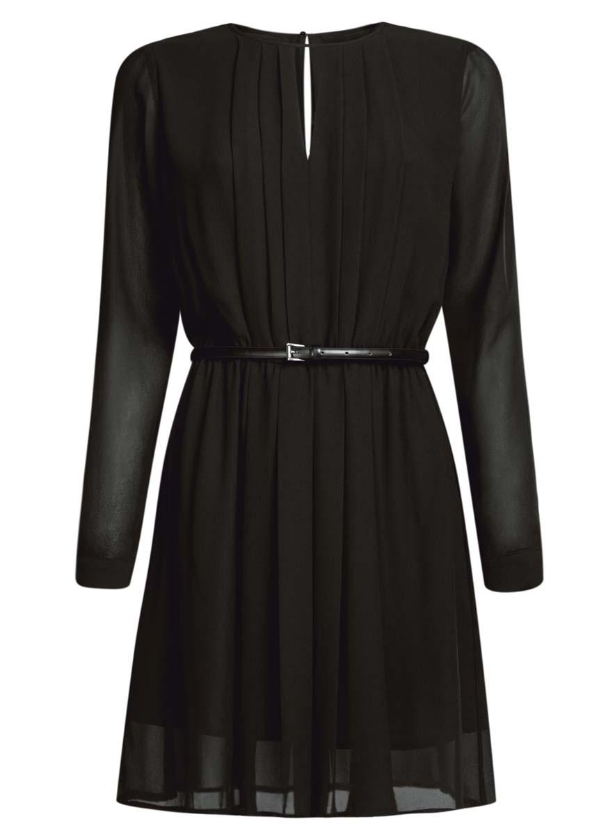 21913017/17358/1229AСтильное платье oodji Collection полностью выполнено из полиэстера. Модель из струящейся ткани с круглым воротником, застегивающимся на пуговицу сзади, вырезом на груди и длинными рукавами с манжетами. В комплект входит тонкий ремень.