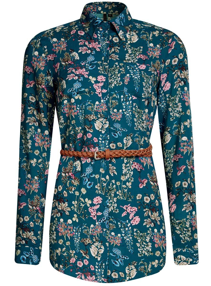21412057-4/24681/7912EСтильная женская рубашка oodji Collection выполнена из качественной вискозы. Модель с отложным воротником и длинными рукавами застегивается на пуговицы по всей длине. Рубашка удлиненной модели дополнена стильным ремешком из искусственной кожи и двумя накладными карманами спереди. Манжеты рукавов оснащены застежками-пуговицами, а также их можно сделать покороче с помощью внутреннего хлястика на пуговице. Модель оформлена контрастным принтом с узорами. Рукава дополнены манжетами с кнопками.