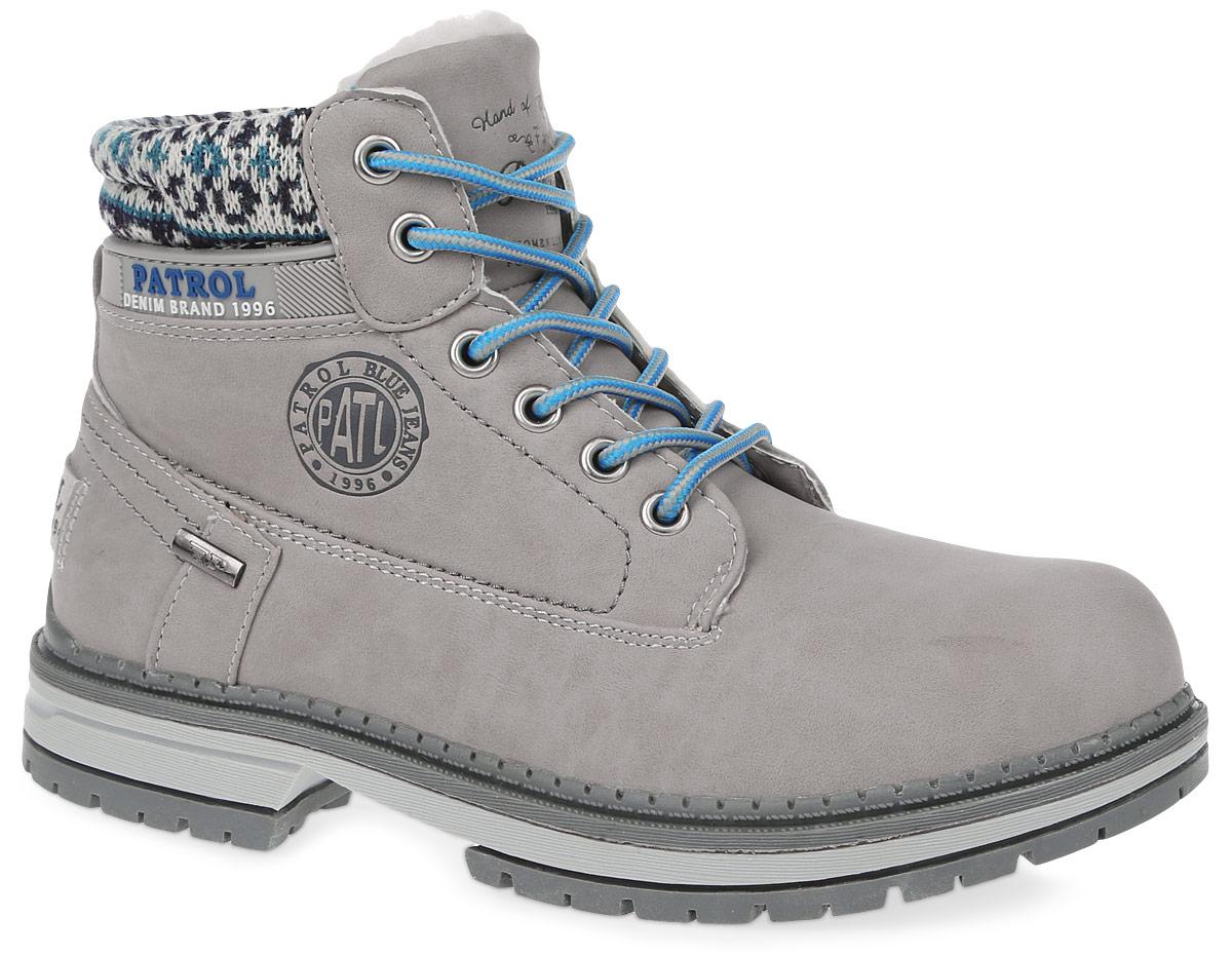 Ботинки261-143IM-17w-04-1Женские ботинки от Patrol выполнены из искусственного нубука, на язычке и сбоку оформлены тиснением с логотипом бренда. Подкладка, исполненная из искусственного меха, сохранит ваши ноги в тепле. Съемная стелька EVA с поверхностью из искусственного меха обеспечивает отличную амортизацию и максимальный комфорт. Шнуровка позволяет оптимально зафиксировать модель на ноге. Подошва, выполненная из термопластичного материала, обеспечит надежное сцепление на любых поверхностях.