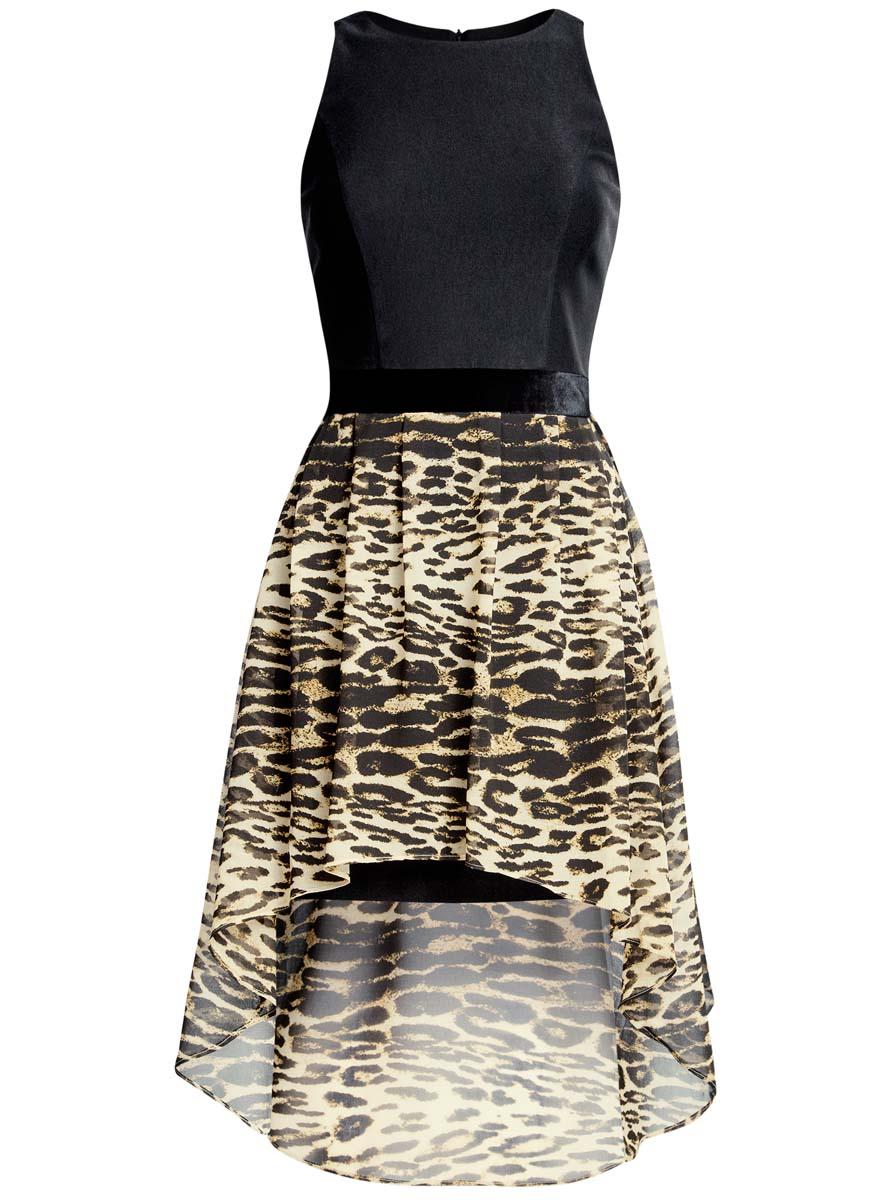Платье11902119-2/31266/2920AПлатье oodji Ultra без рукавов исполнено с облегающим верхом и воздушным низом. Имеет удлиненную сзади ассиметричную юбку. Застегивается на спинке на молнию.