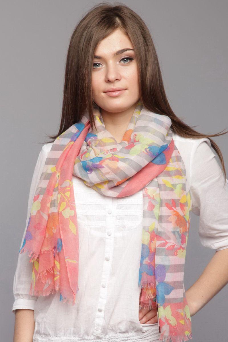 ПалантинNK-0001-2Стильный женский палантин Laura Milano станет великолепным завершением любого наряда. Палантин изготовлен из вискозы и хлопка, и оформлен принтом в полоску, а также цветочным принтом. Изящный палантин поможет вам создать изысканный женственный образ, а также согреет в непогоду.