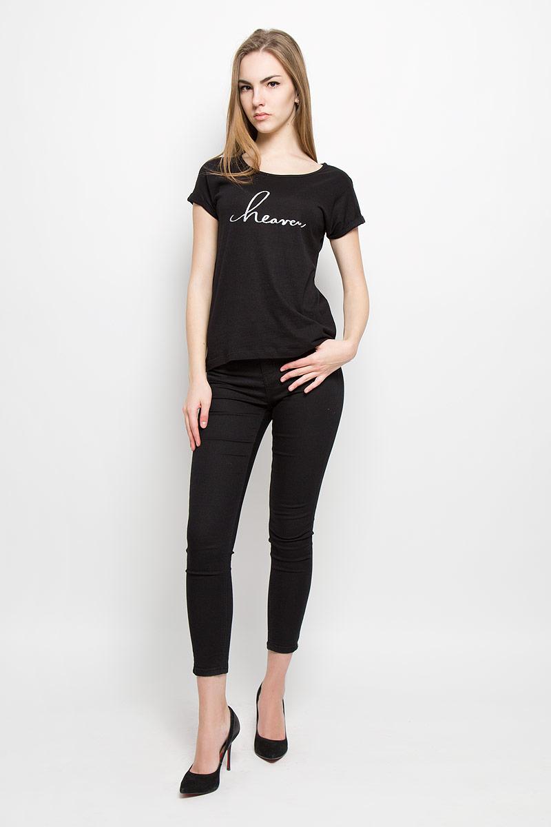 10156986_33AМодная женская футболка Broadway Sia изготовлена из вискозы и хлопка. Модель с круглым вырезом горловины и короткими цельнокроеными рукавами оформлена спереди надписью с блестками. Спинка изделия немного удлинена.