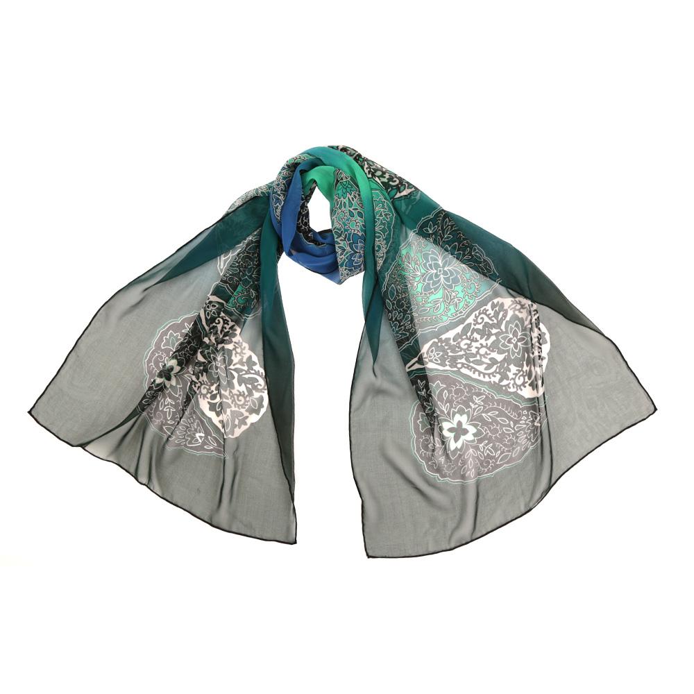 14YL053-BЧудесный аксессуар для современной леди - эффектный шарф из шелка. Оформлен оригинальным принтом.