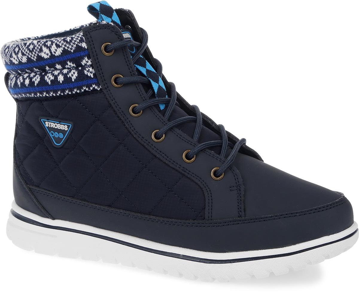 БотинкиF8168-2Стильные женские ботинки Strobbs, выполненные в спортивном стиле, прекрасно подойдут для активного отдыха и повседневной носки. Верх изготовлен из микрофибры и оформлен вставками из текстиля. Подкладка из искусственного меха не даст ногам замерзнуть. Удобная шнуровка надежно зафиксирует модель на стопе. Подошва обеспечит легкость и естественную свободу движений. Сбоку ботинки украшены логотипом бренда. Модель маломерит на 1 размер. В таких ботинках вашим ногам будет тепло и комфортно.