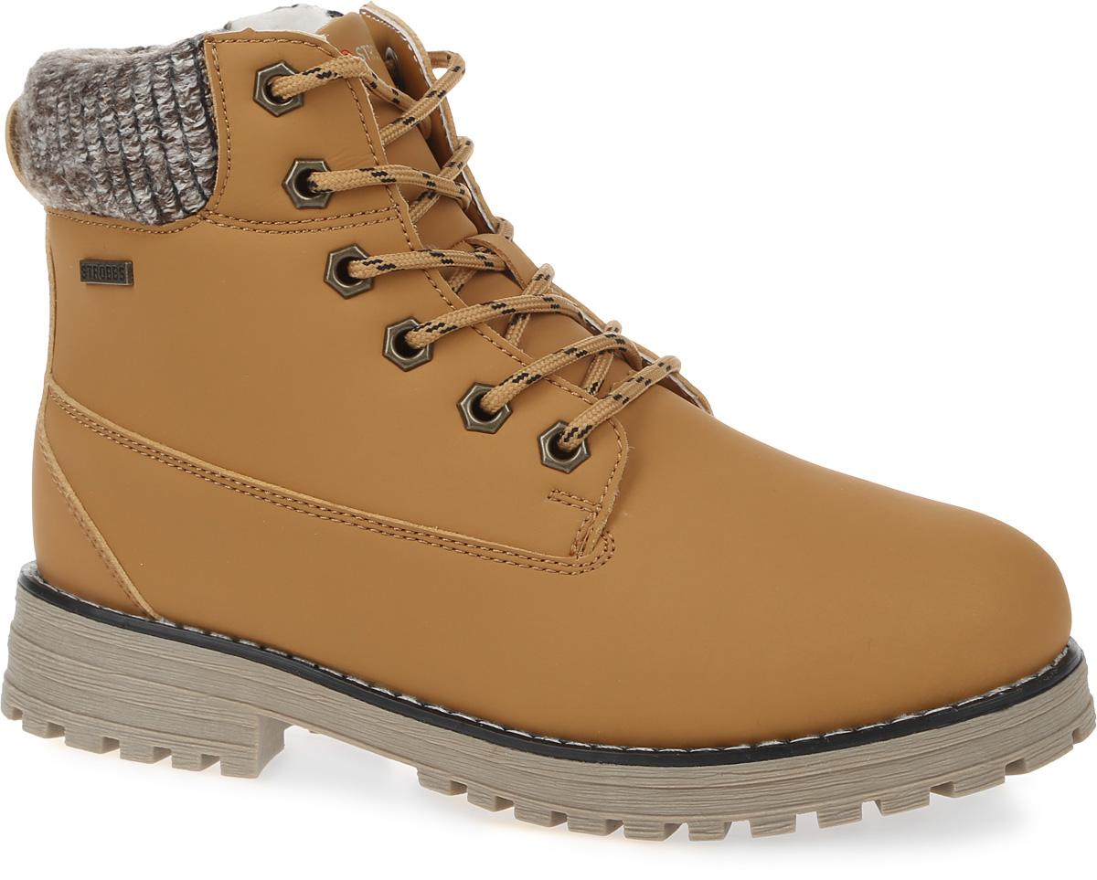 БотинкиF8158-12Стильные женские ботинки Strobbs, выполненные в спортивном стиле, прекрасно подойдут для активного отдыха и повседневной носки. Верх изготовлен из микрофибры и оформлен вставками из текстиля. Подкладка из искусственной шерсти не даст ногам замерзнуть. Удобная шнуровка надежно зафиксирует модель на стопе. Резиновая подошва с крупным протектором обеспечит хорошее сцепление с любой поверхностью. Модель маломерит на 1 размер. В таких ботинках вашим ногам будет тепло и комфортно.