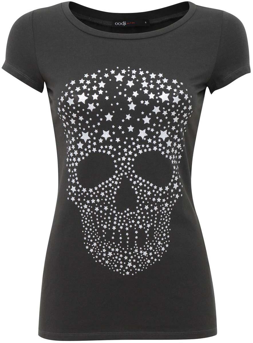 Футболка14701020/35918/2991PСтильная женская футболка oodji Ultra, выполненная из качественного хлопка с добавлением эластана, отлично дополнит ваш гардероб. Модель с круглым вырезом горловины и короткими рукавами декорирована изображением черепа.
