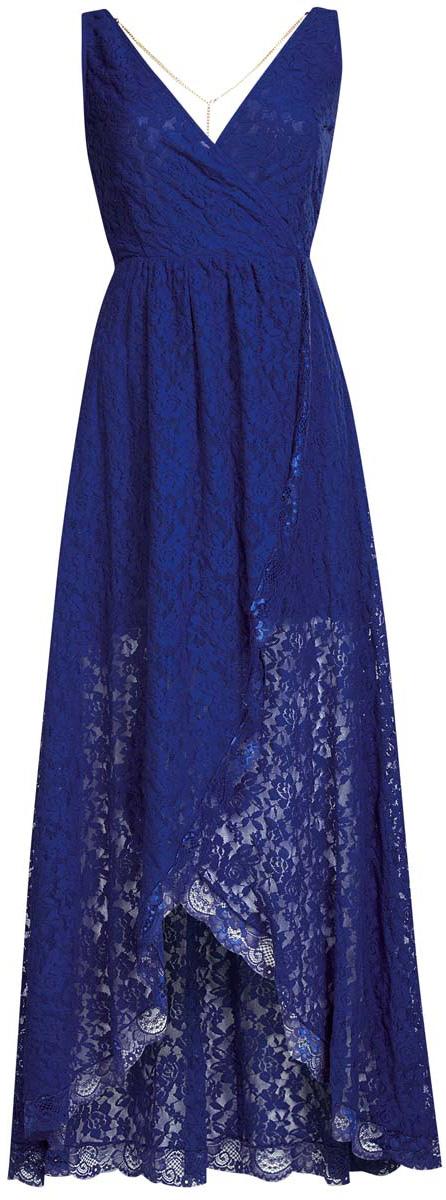 Платье11913029/46034/4500NРоскошное платье oodji Ultra выполнено из эластичного хлопчатого гипюра. Модель с V-образным вырезом. Изделие на бретелях средней толщины. Боковая сторона лифа дополнена потайной застежкой-молнией. Низ платья ассиметричен. В комплект входит декоративная цепочка, которая крепится на петли к спинке при помощи карабинов.