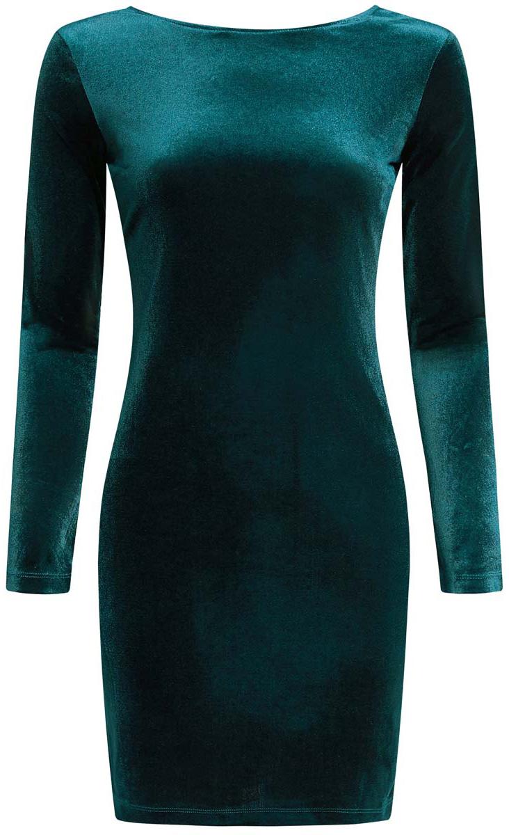 Платье14000165/46056/2900NПлатье oodji Ultra исполнено из мягкой бархатистой ткани. Имеет длинные рукава и V-образный вырез горловины. Платье плотно садится по фигуре.