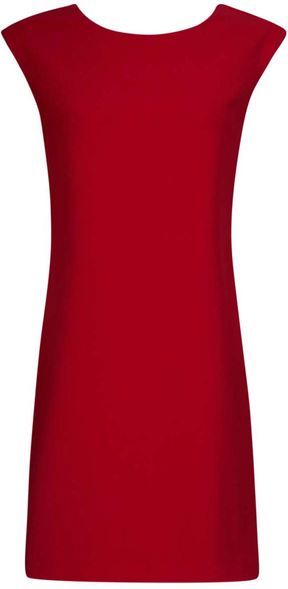11905031/46068/2900NСтильное платье oodji Ultra выполнено из полиэстера с добавлением полиуретана. Модель прямого фасона с глубоким вырезом на спинке, круглым вырезом горловины и без рукавов.