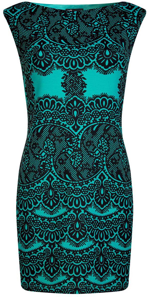 Платье14001170/37809/1229LПлатье oodji Ultra без рукавов исполнено из мягкой облегающей ткани. Имеет воротник-лодочку и оформлено принтом в кружева.