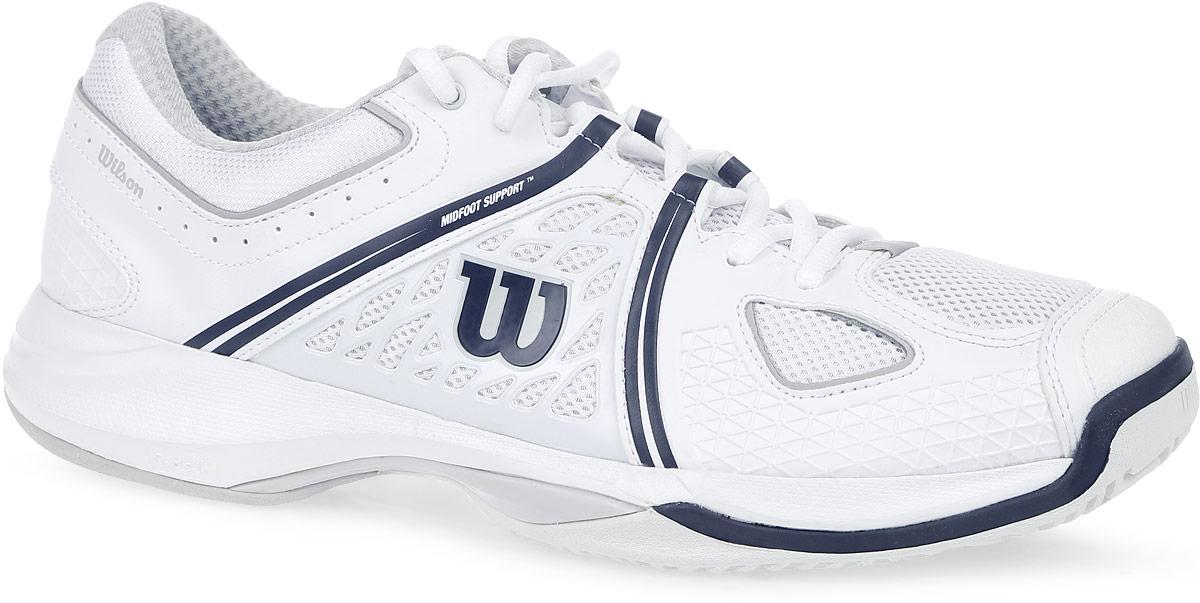 КроссовкиWRS319120Стильные мужские кроссовки для тенниса Nvision от Wilson предлагают теннисистам необходимый им комфорт и гибкость. Универсальные кроссовки с высококлассной устойчивостью и комфортом. Верх модели выполнен из искусственной кожи с перфорацией, дополненной вставками из дышащего текстиля, и оформлен названием и логотипом бренда. Классическая шнуровка гарантирует удобство и надежно фиксирует модель на ноге. Усиленный мыс для более надежной защиты. Технология Dynamic Fit - DF2: высота средней части подошвы - 9 мм. Технология R-DST: вставка из химически активных веществ в пяточной части обеспечивает максимальную амортизацию. Съемная стелька EVA с внешней текстильной поверхностью обеспечивает комфорт и амортизацию. Резиновая рельефная подошва обеспечивает идеальное сцепление с поверхностью. В таких кроссовках вашим ногам будет комфортно и уютно.