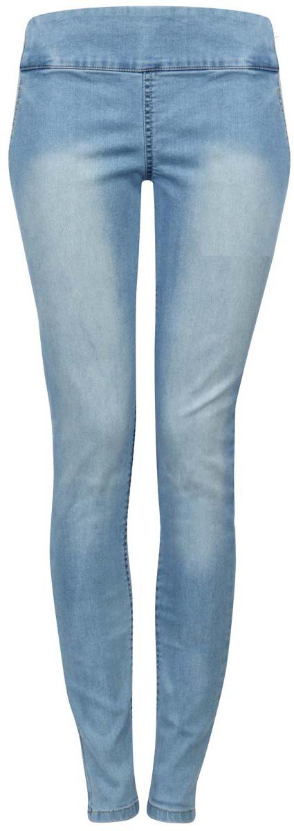 22104026-1/37977/7500WЖенские джинсы oodji Collection изготовлены из хлопка с добавлением полиуретана, полиэстера и вискозы. Джинсы-слим с высокой посадкой имеют широкую эластичную резинку на поясе. Изделие оформлено имитацией втачных карманов спереди и накладных сзади. Модель оформлена эффектом потертости.