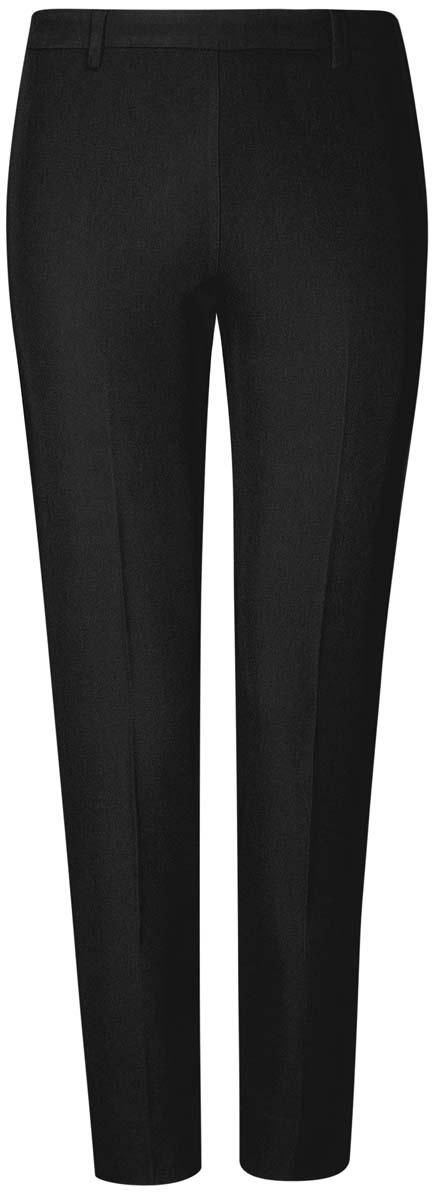 Брюки21706022-1/18600/2900NСтильные женские брюки oodji Collection изготовлены из качественного комбинированного материала. Модель зауженного кроя со стандартной посадкой выполнена в лаконичном стиле и дополнена по низу брючин небольшими разрезами. Застегиваются брюки по боковому шву на застежку-молнию и потайную пуговицу, а также дополнены в поясе шлевками для ремня. Сзади изделие оформлено имитацией прорезного кармана.