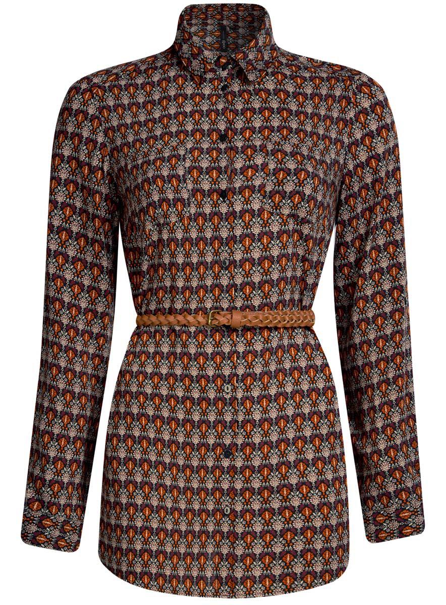 Блузка21412057-4/24681/7912EСтильная женская рубашка oodji Collection выполнена из качественной вискозы. Модель с отложным воротником и длинными рукавами застегивается на пуговицы по всей длине. Рубашка удлиненной модели дополнена стильным ремешком из искусственной кожи и двумя накладными карманами спереди. Манжеты рукавов оснащены застежками-пуговицами, а также их можно сделать покороче с помощью внутреннего хлястика на пуговице. Модель оформлена контрастным принтом с узорами. Рукава дополнены манжетами с кнопками.