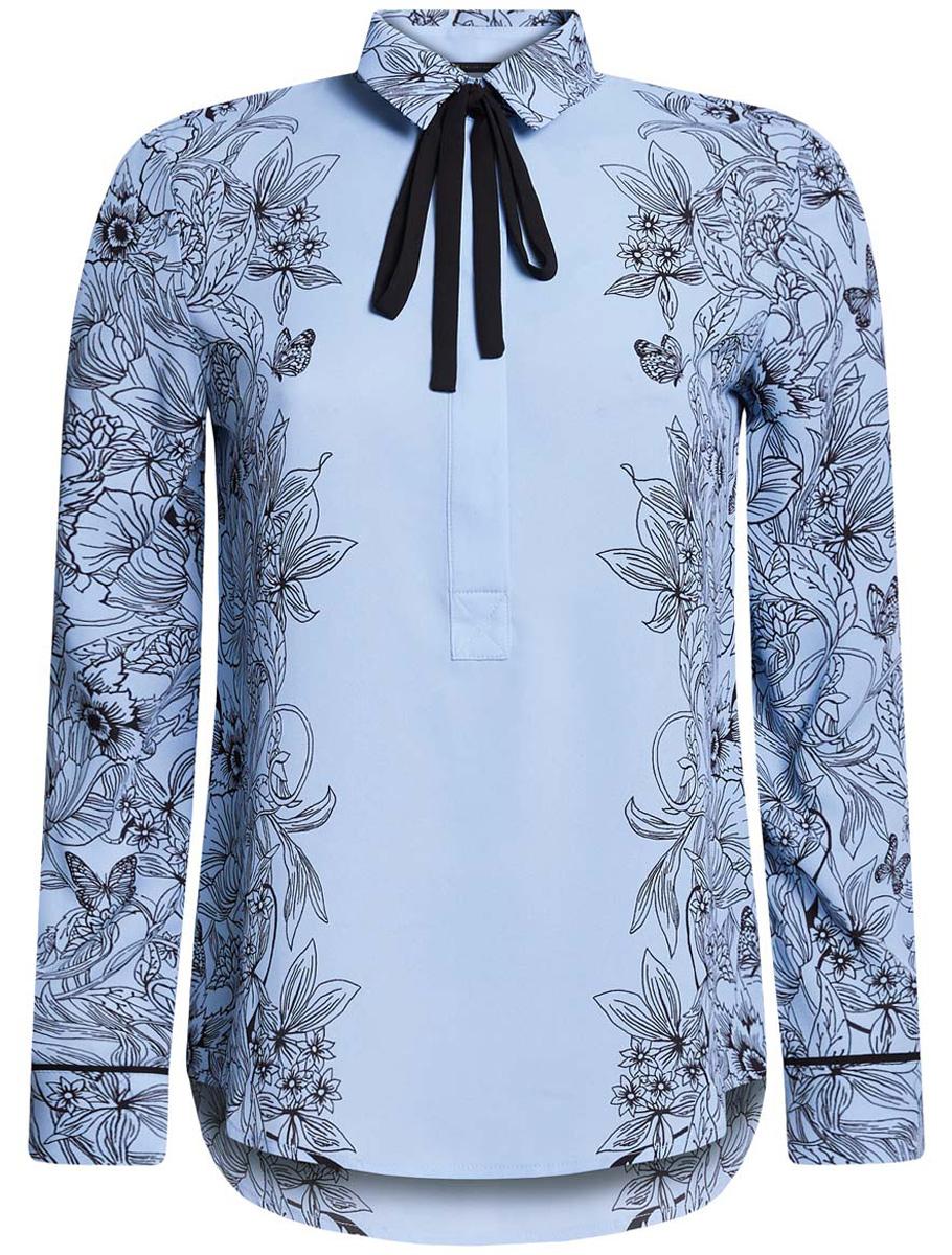 Блузка21411094-1/36215/1229FБлузка oodji Collection выполнена из полиэстеровой ткани, оформленной оригинальным цветочным принтом. Модель с отложным воротником, дополненным завязками, застегивается спереди на пуговицы. У изделия стандартные рукава с манжетами на пуговицах.